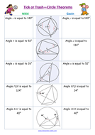 Circle Theorems Tick or Trash; angles