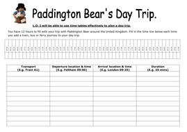 KS2 maths Paddington Bear timetable activity
