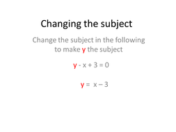 Rearranging formula(Changing the subject)