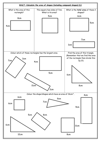 Area differentiated worksheets