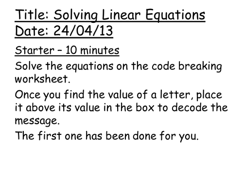 Solving Linear Equations Lesson by amwgauss Teaching Resources Tes – Solve Linear Equations Worksheet