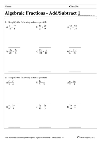 Worksheets Algebraic Fractions Worksheet algebraic fractions practice questions solutions by transfinite a add subtract 1 pdf