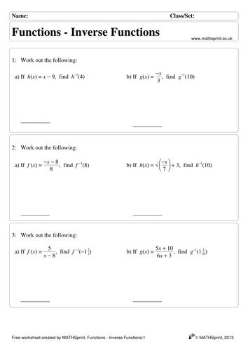 Functions practice questions + solutions by transfinite - Teaching ...