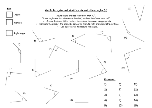 Worksheets Acute Obtuse And Right Angles Worksheets recognising and identifying angles by indiarose26 teaching h docx