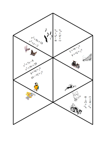 Factorising Quadratics Tarsia with Pictures by frickard