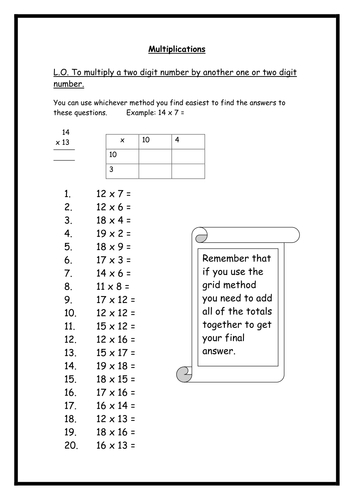 Multiplication Worksheets By Rebs89 Teaching Resources Tes