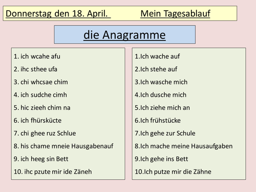 ks3 german daily routine by ash73 teaching resources tes. Black Bedroom Furniture Sets. Home Design Ideas