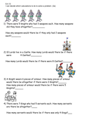 Castles and knights word problems
