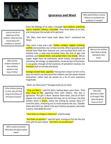 A Christmas Carol: Ignorance & Want by jamestickle86 - Teaching ...