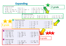 expanding and factorising