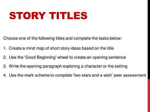 creative writing titles for 11+