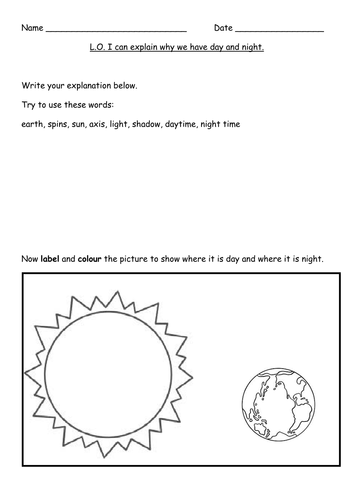 Day and Night science worksheets (differentiated) by Gorgon10 ...