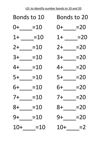 Worksheets Number Bonds To 10 Worksheet work sheets number bonds to 10 20 and 100 by rosabellaangelica teaching resources tes