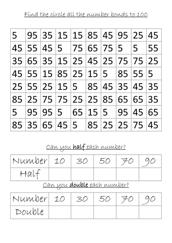 Number Names Worksheets free printable number chart 1-100 : Work sheets: Number Bonds to 10, 20 and 100 by rosabellaangelica ...
