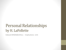 Personal Relationships by H LaFollette