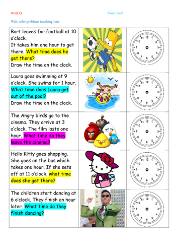 Time word problems by thewolfe - Teaching Resources - TES