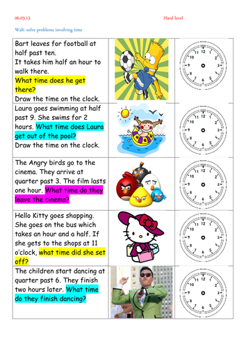 Time Worksheets time worksheets one hour later : Counting Number worksheets : time problem worksheets ks1 Time ...