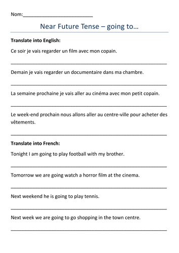 french immediate future tense worksheets by dannielle89. Black Bedroom Furniture Sets. Home Design Ideas