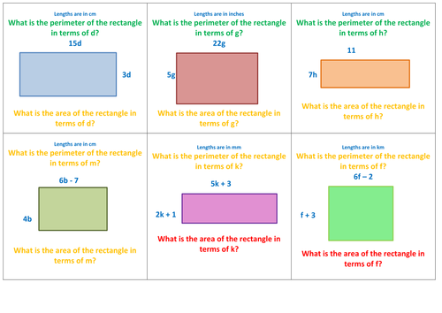 Area and perimeter with algebra by denningh Teaching Resources Tes – Area and Perimeter Worksheet