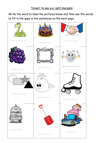 a-e split digraph worksheet by joop09 - Teaching Resources - TES