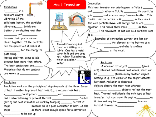 Heat Transfer Revision Resources by seasquirt Teaching Resources – Conduction Convection Radiation Worksheet