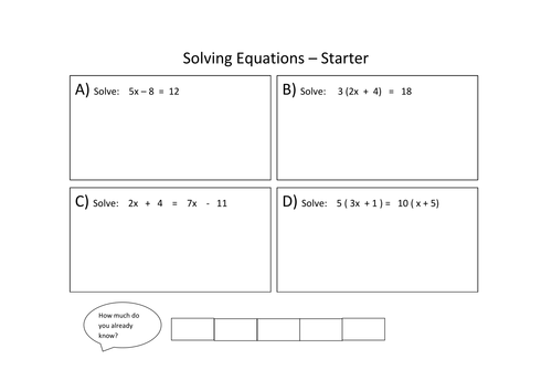 Solving equations L67 Lesson by fionajones88 Teaching – Solving Equations with Variables on Both Sides Worksheets