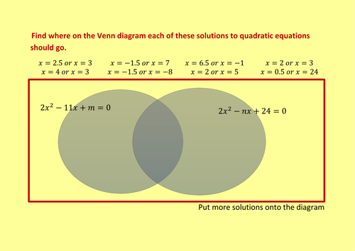 solving quadratics by factorising venn diagram by alexanderpr    preview resource