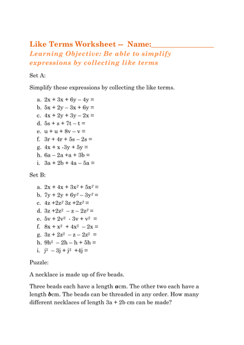 Collecting Like Terms KS3 Maths expressions by mita1000