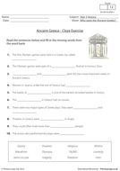 Ancient Greece - Cloze Exercise