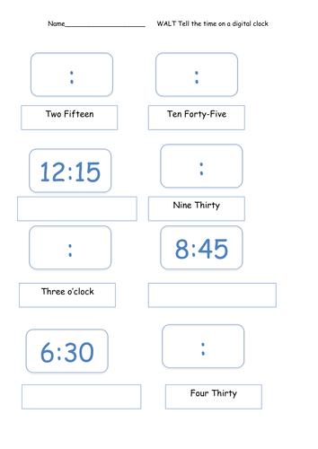 digital time worksheet by sarahteresa teaching resources tes. Black Bedroom Furniture Sets. Home Design Ideas