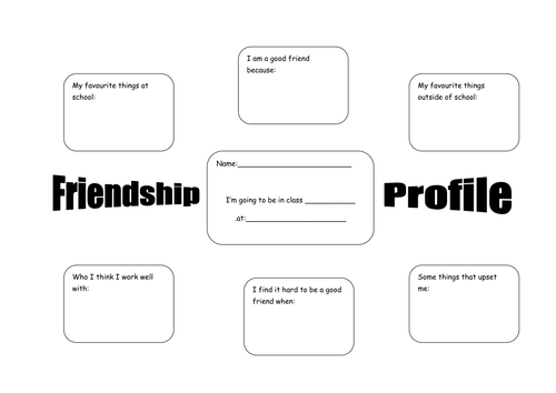Friendship Profile Ks1 Ks2 Pshe Worksheet By