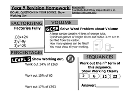 Revision Homework Year 9 Maths