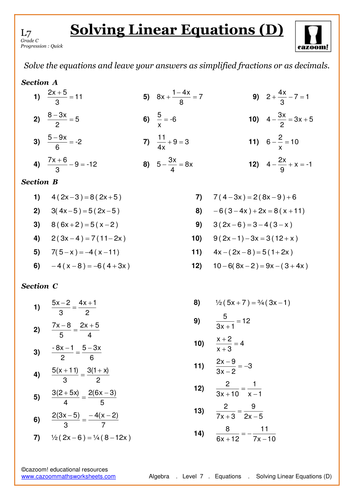 Worksheet Solving Linear Equations Worksheets solving linear equations by cazoommaths teaching resources tes d pdf