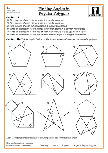 Printables Interior And Exterior Angles Of Polygons Worksheet interior and exterior angles of polygons worksheet abitlikethis geometry level 9 finding in regular pdf