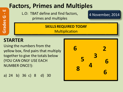 Factors Multiples and Primes by deselby Teaching Resources TES – Factors Multiples Worksheet