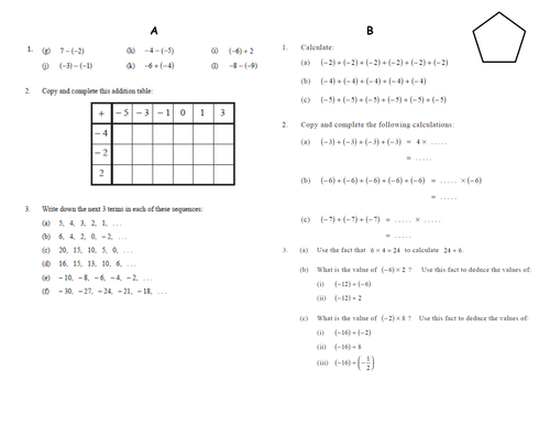 Differentiated negative number worksheets by jhofmannmaths – Adding and Subtracting Positive and Negative Numbers Worksheets