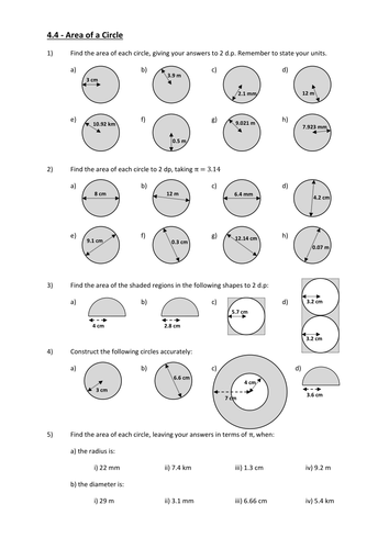 Worksheet Area Of A Circle Worksheet parts circumference and area of a circle by andytodd teaching sheet 4 constructing circles docx