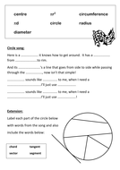 Circle Song worksheet to promote literacy in Maths