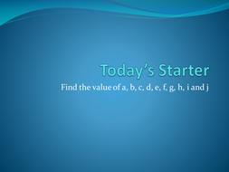 Substitution & Re-arranging formulas starter.