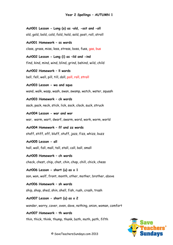 Year 2 Spellings Words Lists - New Curriculum by ...