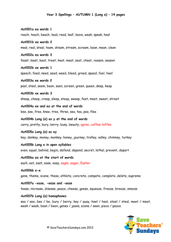 Year 3 Spellings Words Lists - New Curriculum by ...