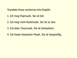 Weil and opinions using a German pop/rock song