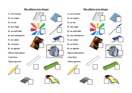 Year 7 Classroom Schoolbag Objects By Myrtille Teaching Resources