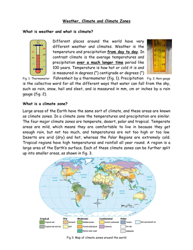 Comprehension / Guided reading on climate zones by ...