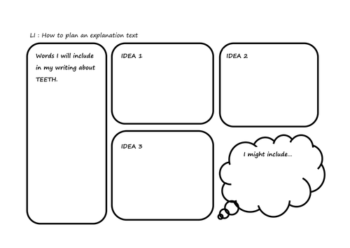 Planning sheet for an explanation text by Annalydia