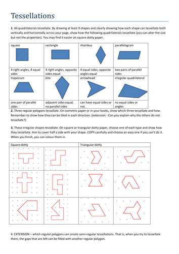 Superb image regarding tessellation worksheets printable
