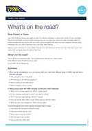 What's on the Road? - Home Link Sheet