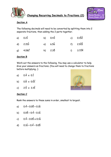 Number Names Worksheets : change fraction to decimal worksheet ...
