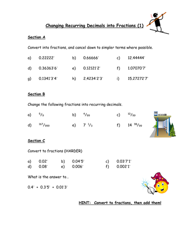 Worksheets Repeating Decimals To Fractions Worksheet changing recurring decimals into fractions by owen134866 15 1 doc