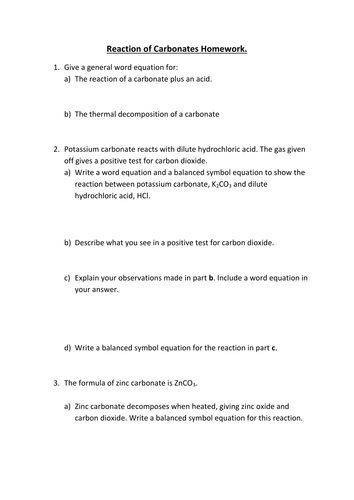 Reactions Of Carbonates By Gerwynb Teaching Resources Tes